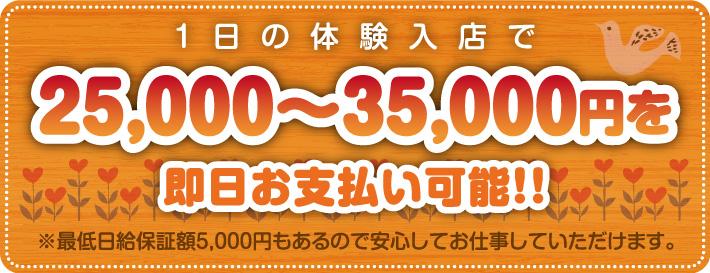 1日の体験入店で25000円~35000円を即日お支払可能
